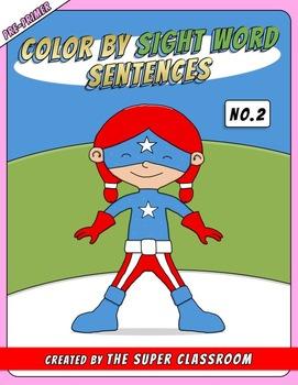 Pre-Primer: Color by Sight Word Sentences - 002