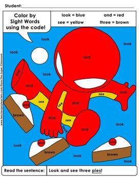 Pre-Primer: Color by Sight Word Sentences - 003