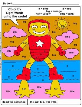 Pre-Primer: Color by Sight Word Sentences - 004