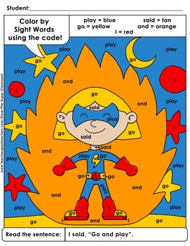 Pre-Primer: Color by Sight Word Sentences - 005