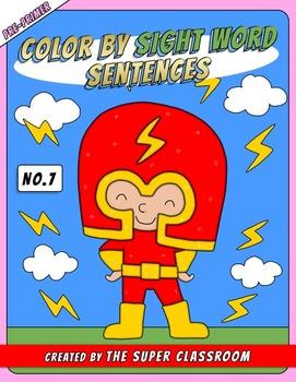 Pre-Primer: Color by Sight Word Sentences - 007