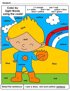 Pre-Primer: Color by Sight Word Sentences - 009