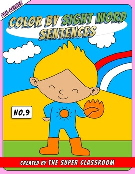 Pre-Primer: Color by Sight Word Sentences - 009