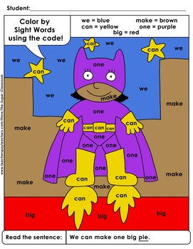 Pre-Primer: Color by Sight Word Sentences - 011