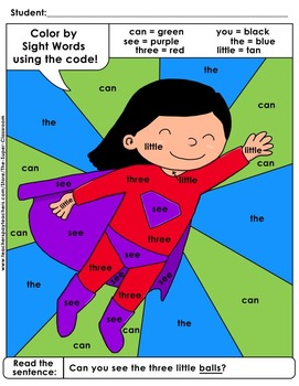 Pre-Primer: Color by Sight Word Sentences - 014