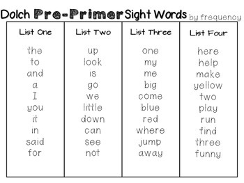 Pre-Primer DOLCH Sight Word Pack