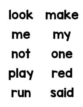 Pre Primer Dolch Sight Words