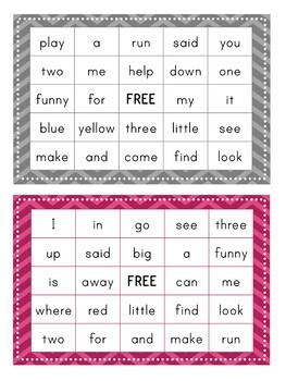 Pre-Primer Dolch Sight Word BINGO Card Printable: Includes 30 cards!