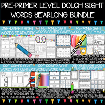 Dolch Pre-Primer Sight Words Year-Long Activity Bundle