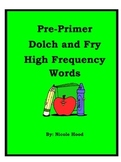 Pre-Primer Dolch High Frequency Word List