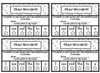 Pre-Primer Dolch High Frequency/Sight Words - Star Words Punch Cards