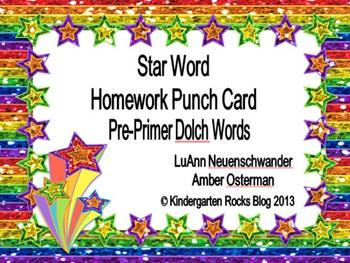 Pre-Primer Dolch High Frequency/Sight Words - Star Words P