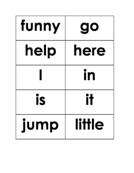 Pre-Primer Dolch List Sight Word Cards