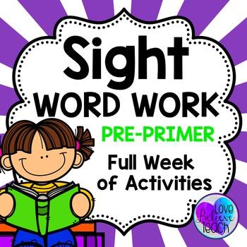 Sight Word Work Pre-Primer