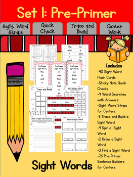 Sight Word Activities for Centers and Word Work (Dolch Pre-Primer)