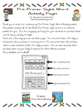Pre-Primer Dolch Sight Word Activity Pages