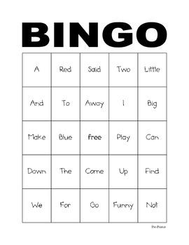 Pre-Primer Dolch Sight Word Bingo