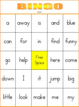 Pre-Primer Dolch Sight Word Bingo Set 1