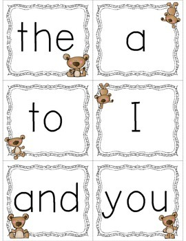 Pre-Primer Dolch Sight Word Cards & Booklet - Bears Theme