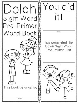 Pre-Primer Dolch Sight Word Cards & Booklet - Confetti Kids Theme