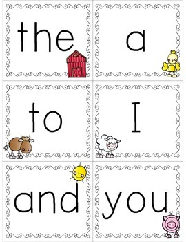 Pre-Primer Dolch Sight Word Cards & Booklet - Farm Theme