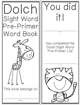 Pre-Primer Dolch Sight Word Cards & Booklet - Jungle Theme
