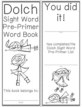 Pre-Primer Dolch Sight Word Cards & Booklet - Superhero Theme