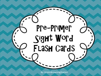 Pre-Primer Dolch Sight Word Flash Cards