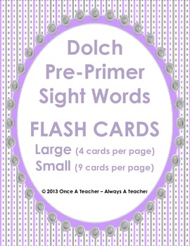 Dolch Sight Word Flash Cards and Posters (Pre-Primer Words)