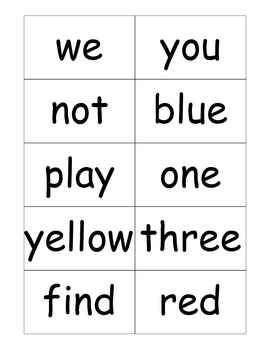 Pre Primer Dolch Sight Word Flashcards
