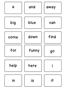 Pre-Primer Dolch Sight Word Flashcards
