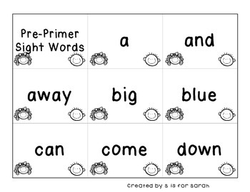 Pre-Primer Dolch Sight Word Flashcards and Student Certificates