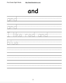 Pre-Primer Dolch Sight Word Handwriting