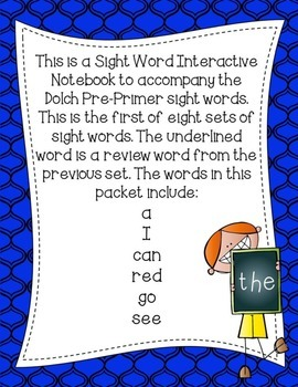 Pre-Primer Dolch Sight Word Interactive Notebooks Set 1