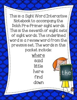 Pre-Primer Dolch Sight Word Interactive Notebooks Set 7