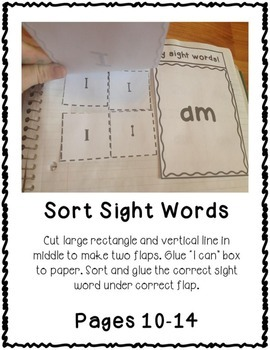 Pre-Primer Dolch Sight Word Interactive Notebooks Set 8