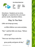 """Pre-Primer Dolch Sight Word List """"Play in the Rain"""""""