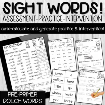 Pre-Primer Dolch Sight Word PDF Form (Automatically Counts Words Correct)
