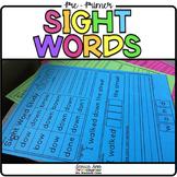Sight Word Worksheets - Pre-Primer