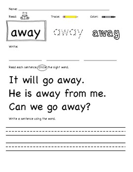Pre Primer Dolch Sight Word Practice Sheets
