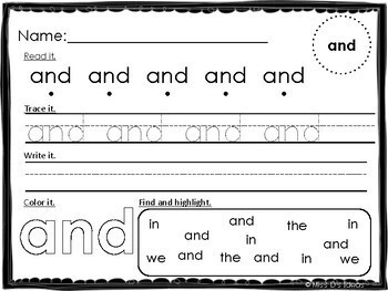 Pre Primer Dolch Sight Word Practice Worksheets