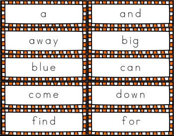 Pre-Primer Dolch Sight Word Tracing Flash Cards