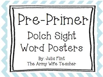 Pre-Primer Dolch Sight Word... by The Army Wife Teacher | Teachers ...