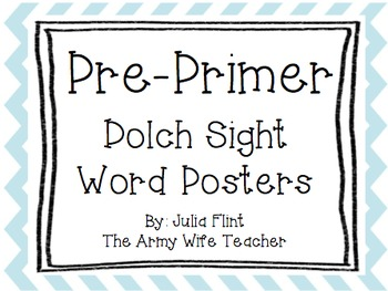 Pre-Primer Dolch Sight Word Wall Posters