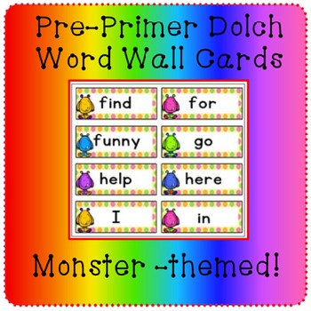 Pre-Primer Dolch Sight Word Wall/Flash cards {Polka Dots and Monsters}