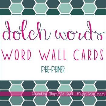 Pre-Primer Dolch Sight Word - Word Wall Cards