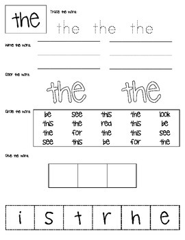 Pre-Primer Dolch Sight Word Work
