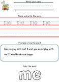 Pre-Primer Dolch Sight Word Worksheets
