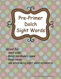 Pre-Primer Dolch Sight Words {FREEBIE}
