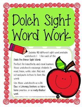 Pre-Primer Dolch Sight Words Activity -Literacy Centers, Do Now, Early Finishers